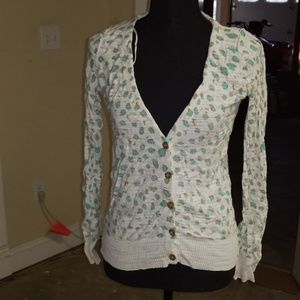 White teal and tan leppard print cardigan